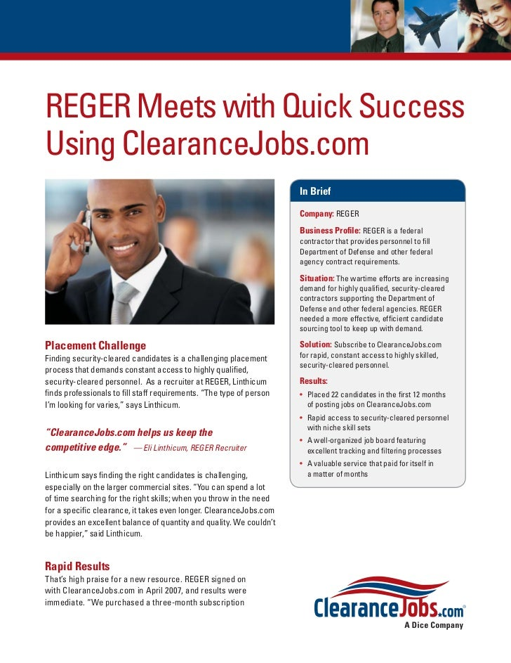 REGER Meets with Quick SuccessUsing ClearanceJobs.com                                                                     ...