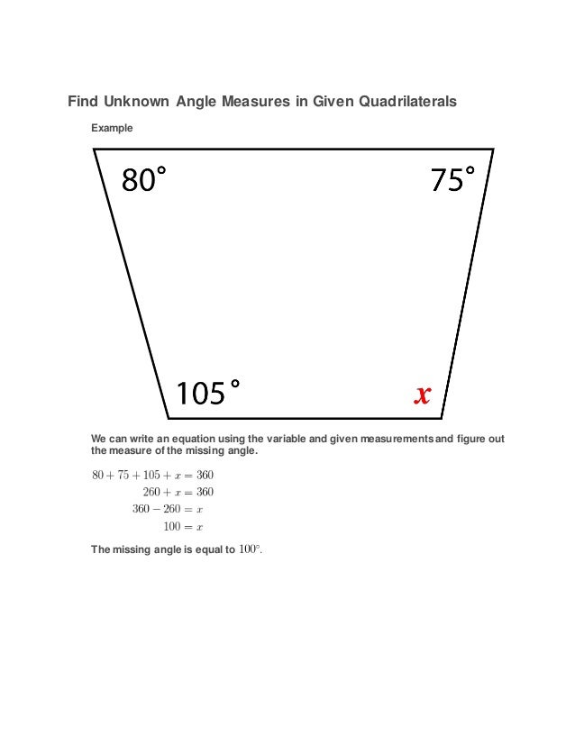 Find unknown angle measures in given quadrilaterals How do you work out exterior angles