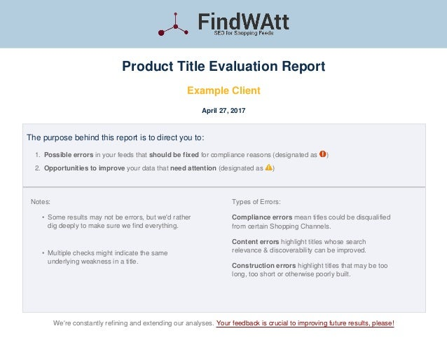 FindWAtt Product Title Evaluation Report Example Client