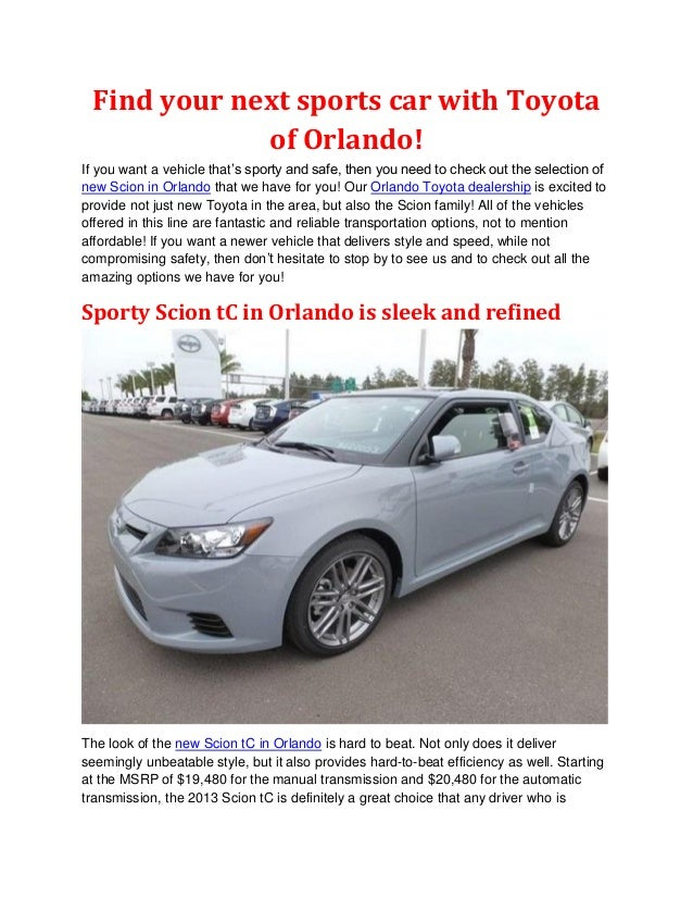 Find your next sports car with Toyota             of Orlando!If you want a vehicle that's sporty and safe, then you need t...