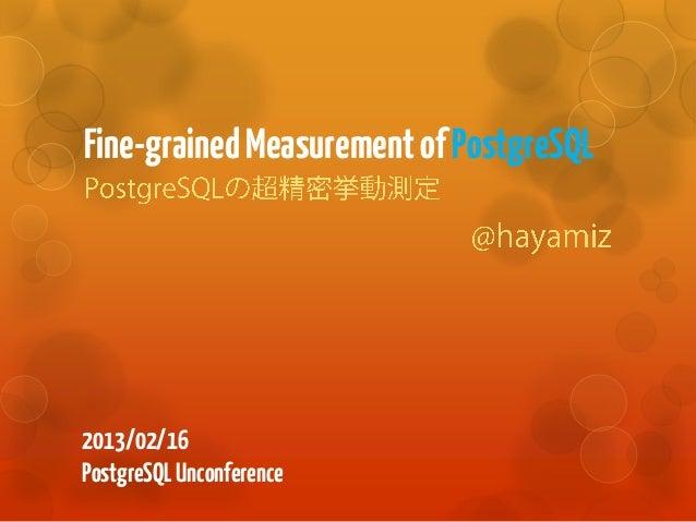 Fine-grained Measurement of PostgreSQL2013/02/16PostgreSQL Unconference