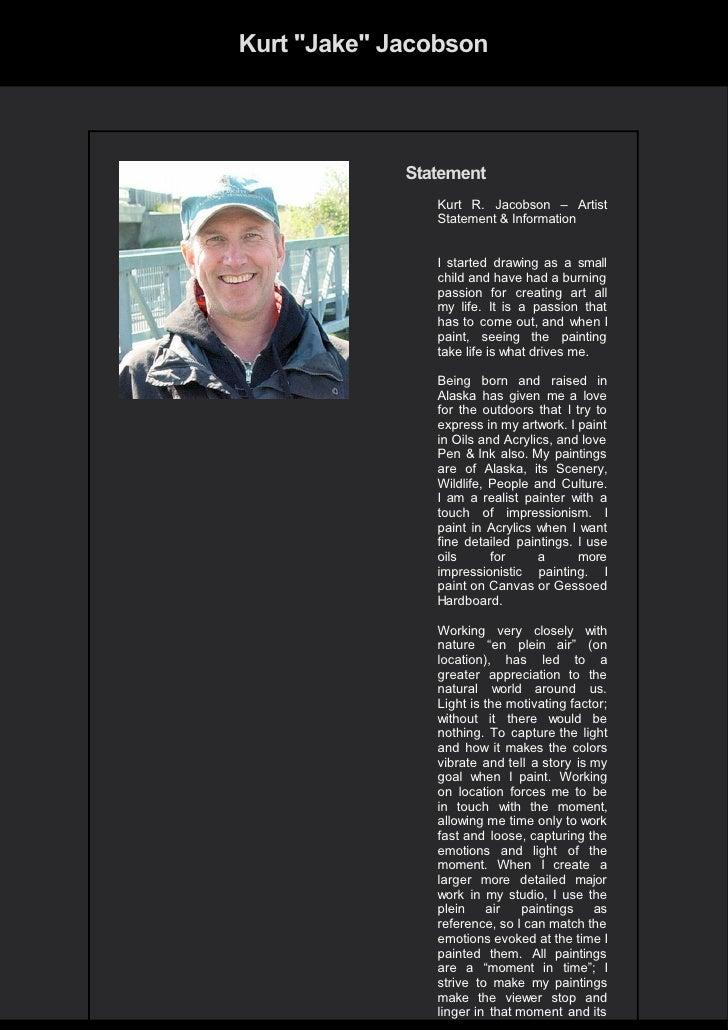 "Kurt ""Jake"" Jacobson                 Statement                 Kurt R. Jacobson – Artist                 Statement & Infor..."
