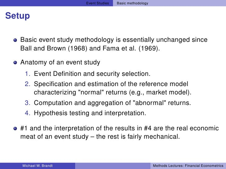 econometrics of event studies Abstract: event study analysis is a branch of econometrics which attempts to   keywords: event studies, shares, share prices, competition.