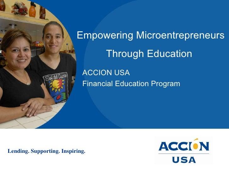 Empowering Microentrepreneurs Through Education   ACCION USA  Financial Education Program