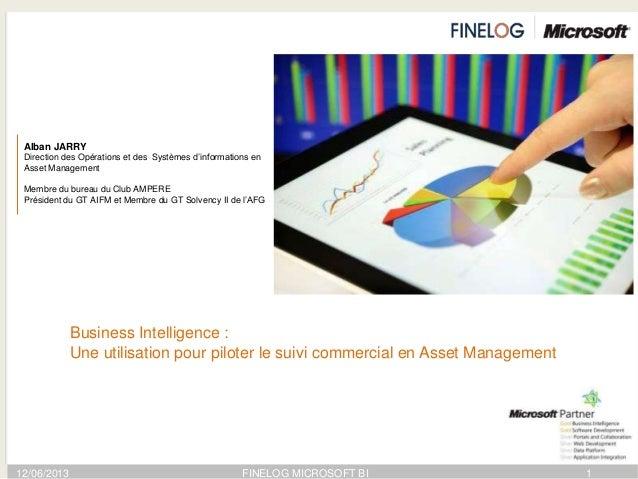 12/06/2013 FINELOG MICROSOFT BI 1Alban JARRYDirection des Opérations et des Systèmes d'informations enAsset ManagementMemb...
