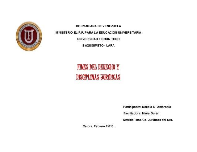 BOLIVARIANA DE VENEZUELA MINISTERIO EL P.P. PARA LA EDUCACIÓN UNIVERSITARIA UNIVERSIDAD FERMIN TORO BAQUISIMETO - LARA FIN...