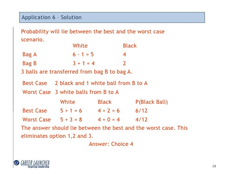 Application 6 – Solution  Probability will lie between the best and the worst case scenario.                       White  ...