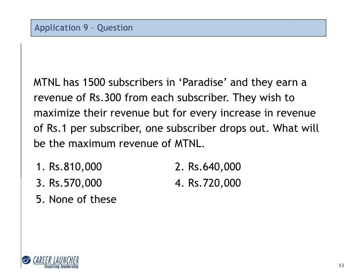 Application 9 – Question     MTNL has 1500 subscribers in 'Paradise' and they earn a revenue of Rs.300 from each subscribe...