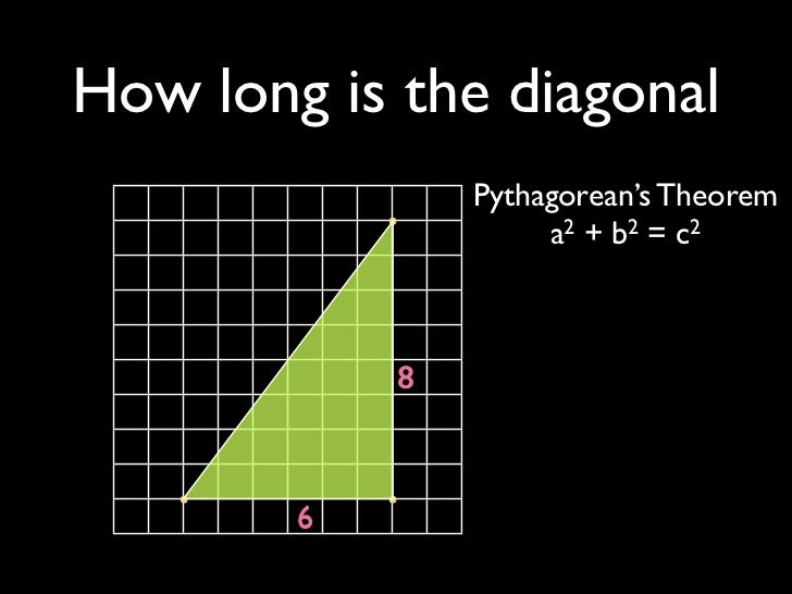 How long is the diagonal                Pythagorean's Theorem                     a2 + b2 = c2            8        6