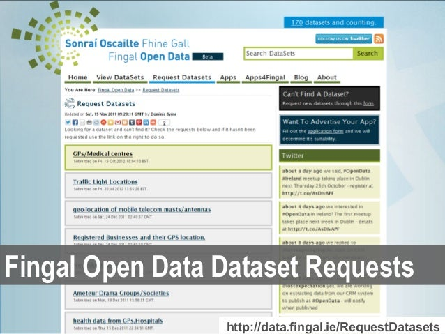 Fingal Open Data Dataset Requests                 http://data.fingal.ie/RequestDatasets