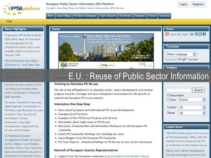 E.U. : Reuse of Public Sector Information