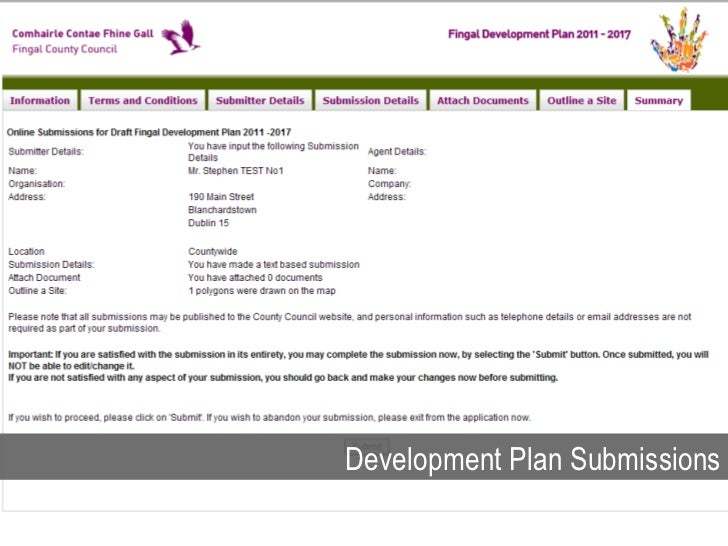 Development Plan Submissions