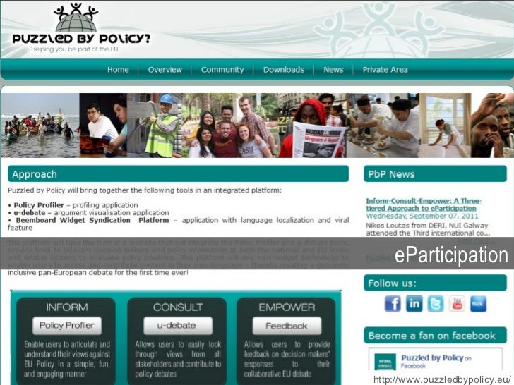 eParticipation http://www.puzzledbypolicy.eu/