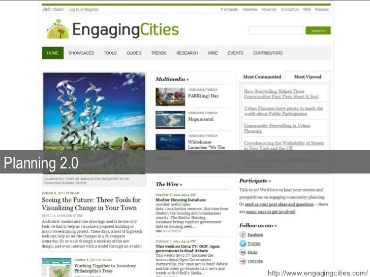 Planning 2.0 http://www.engagingcities.com/