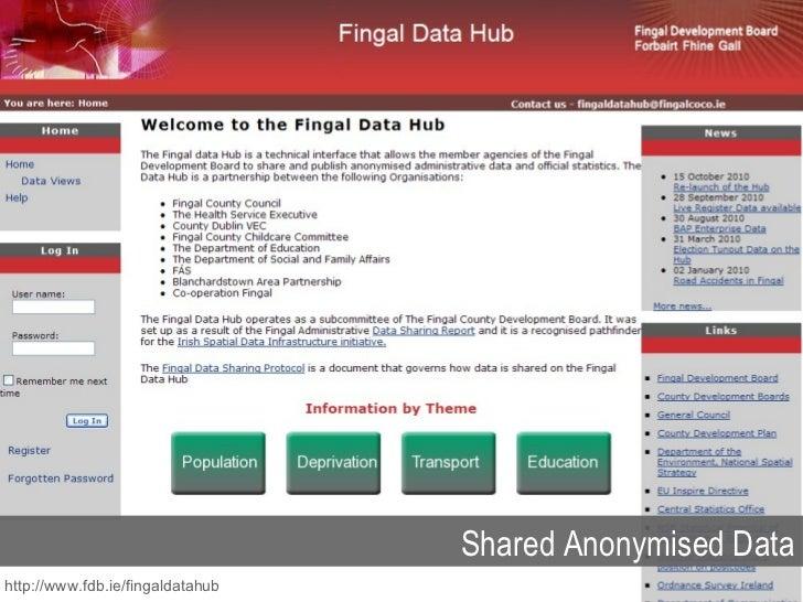 Shared Anonymised Data http://www.fdb.ie/fingaldatahub