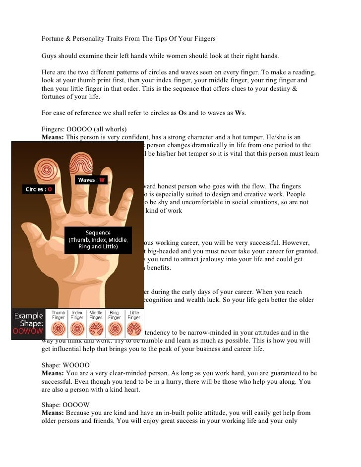Fortune & Personality Traits From The Tips Of Your FingersGuys should examine their left hands while women should look at ...
