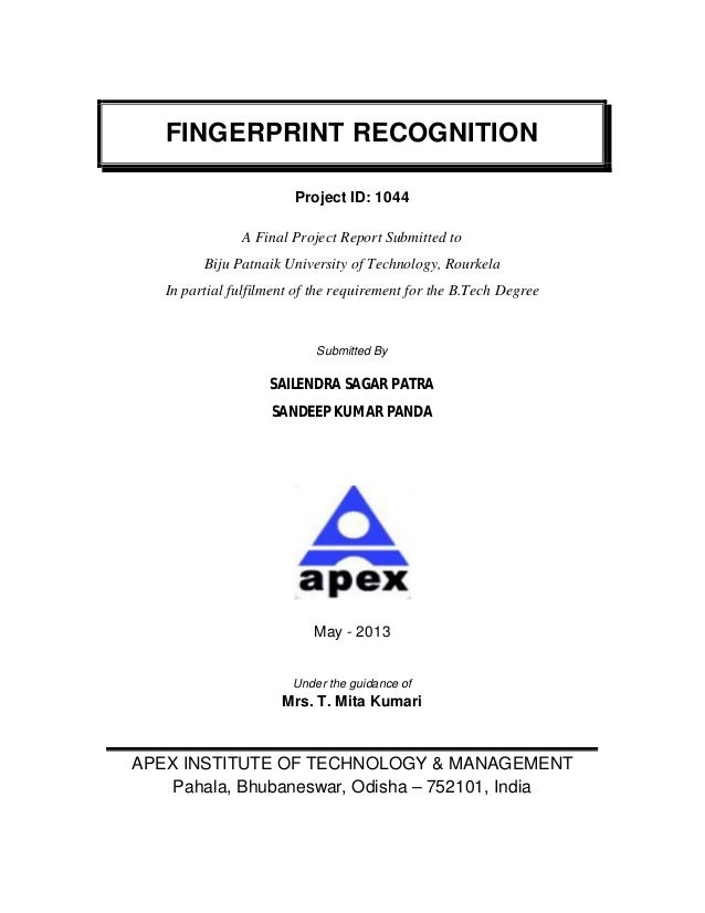 Fingerprint Recognition Technique(PDF)
