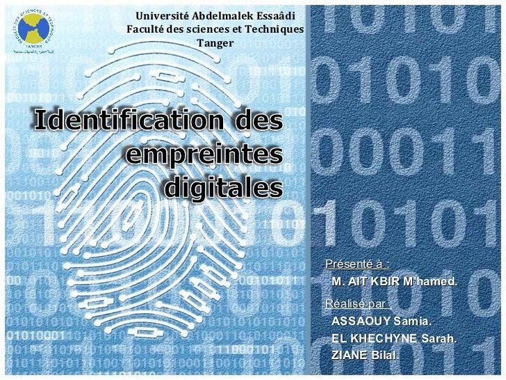 Université Abdelmalek EssaâdiFaculté des sciences et Techniques              Tanger                                     Pr...