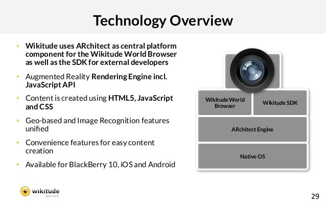 Technology Overview• Wikitude uses ARchitect as central platform   component for the Wikitude World Browser   as well as ...