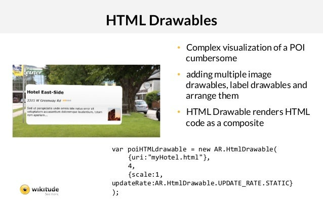 HTML Drawables                • Complex visualization of a POI                   cumbersome                • adding mult...