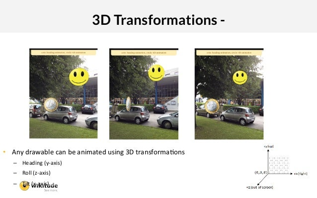 3D Transformations - • Any:drawable:can:be:animated:using:3D:transformaIons:   – Heading:(y5axis):   – Roll:(z5axis):  ...