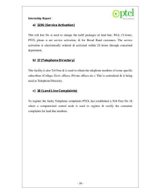 Fini619 internship report_on_ptcl report