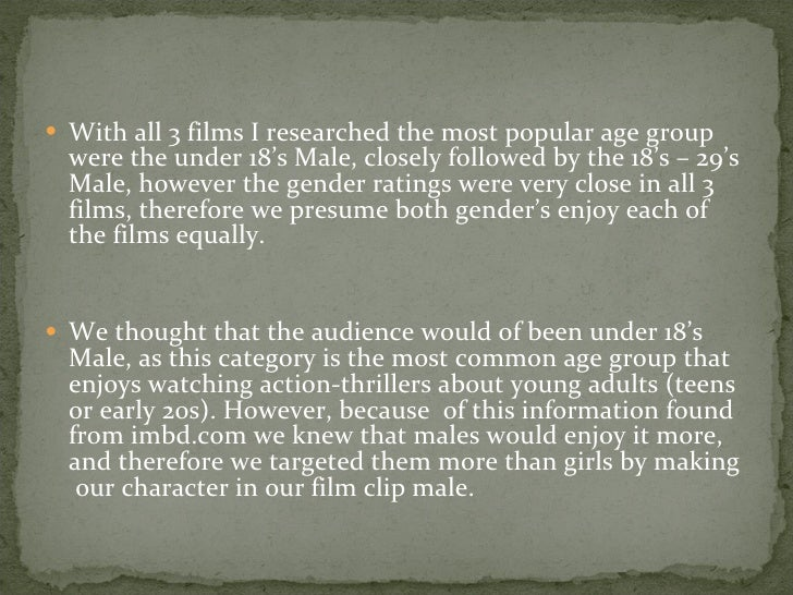 <ul><li>With all 3 films I researched the most popular age group were the under 18's Male, closely followed by the 18's – ...