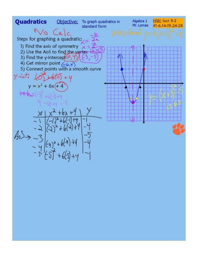 Finish 9 1 And 9 2 Graphing Quadratic Functions Standard Form Day 2
