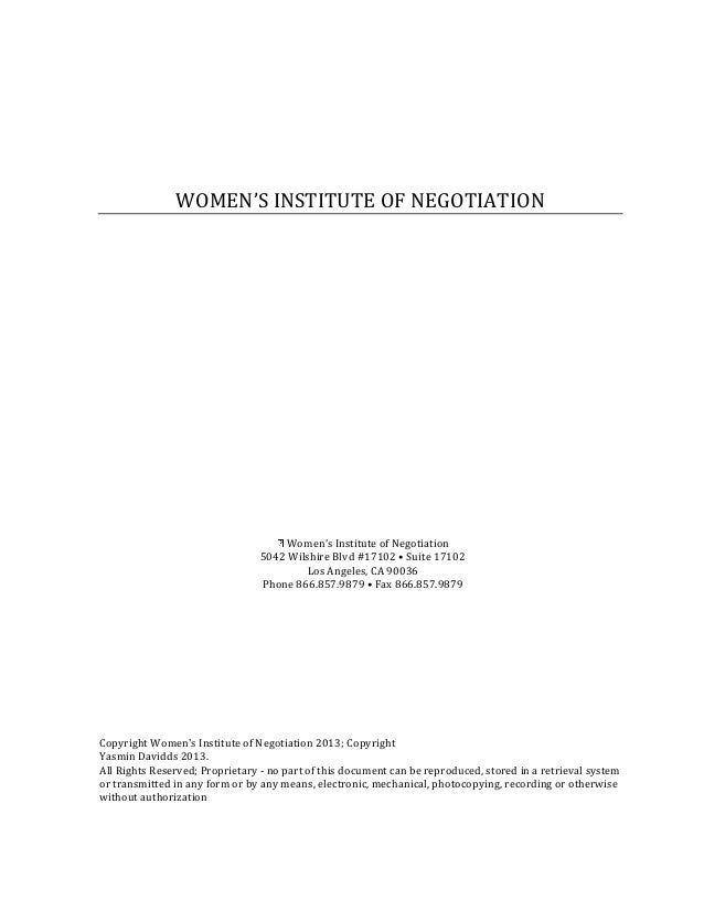 WOMEN'S INSTITUTE OF NEGOTIATION                                     Women's Institute of Negotiation                     ...