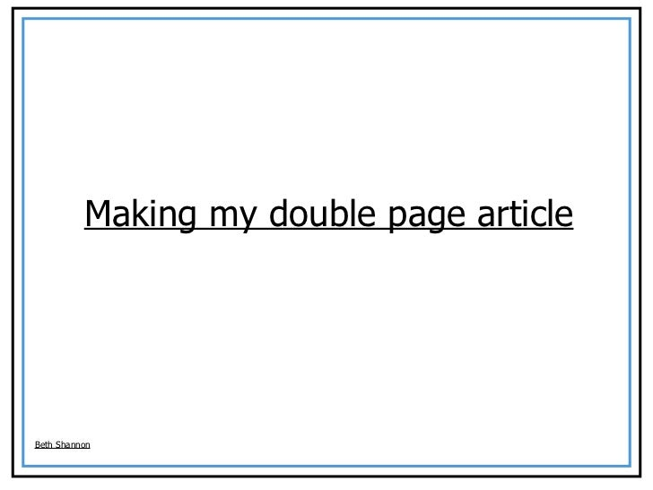 Making my double page article Beth Shannon
