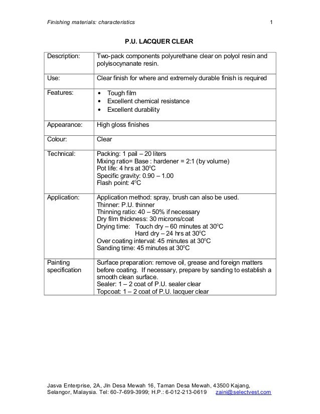 Finishing materials: characteristics                                                  1                               P.U....