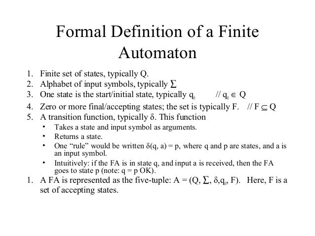 ... 12. Formal Definition Of A Finite ...