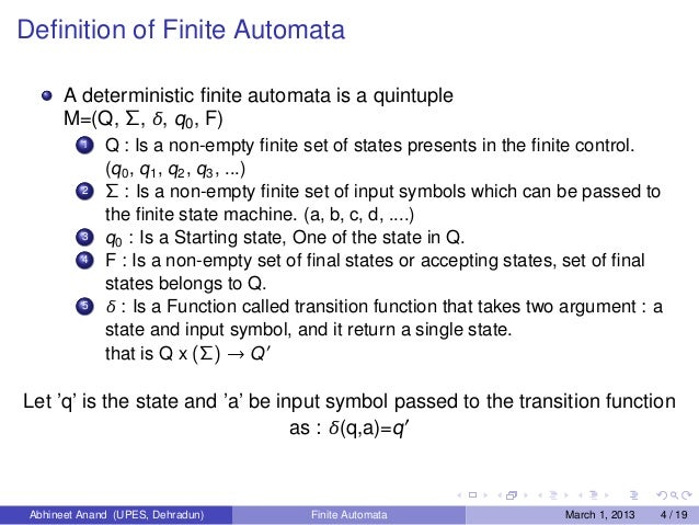 automata equivalence of finite automata and We give a new proof for the fact that measure-many one-way quantum finite automata(mm-1qfa) recognize only regular languages with bounded error our proof.