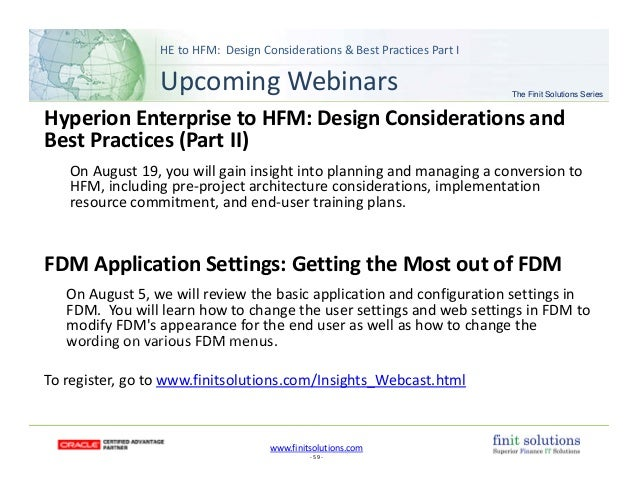 Finit Solutions Getting The Most Out Of Hfm He To Hfm Webinar Ses