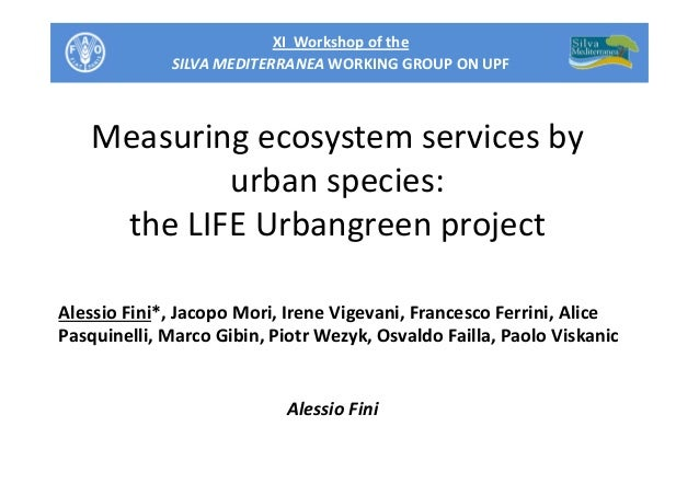 XI Workshop of the SILVA MEDITERRANEA WORKING GROUP ON UPF Measuring ecosystem services by urban species: the LIFE Urbangr...