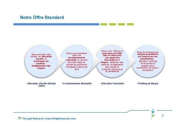 Notre Offre Standard Nous fournissons une analyse quantitative sur mesure de vos portefeuilles : allocation, profiling d'i...