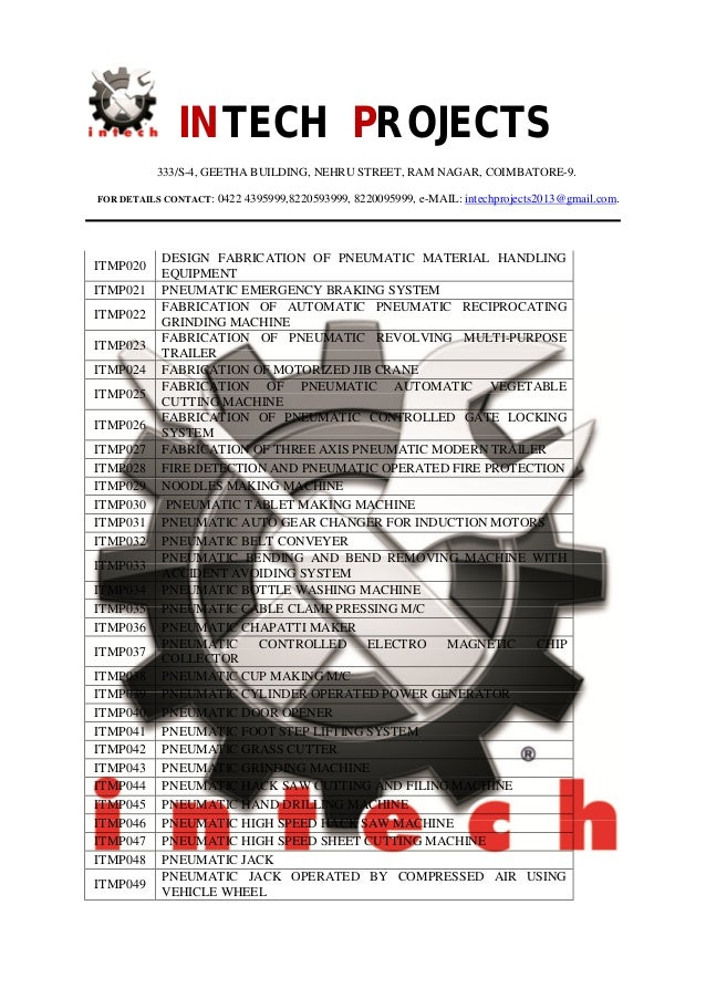 Final Year Mechanical Projects Title