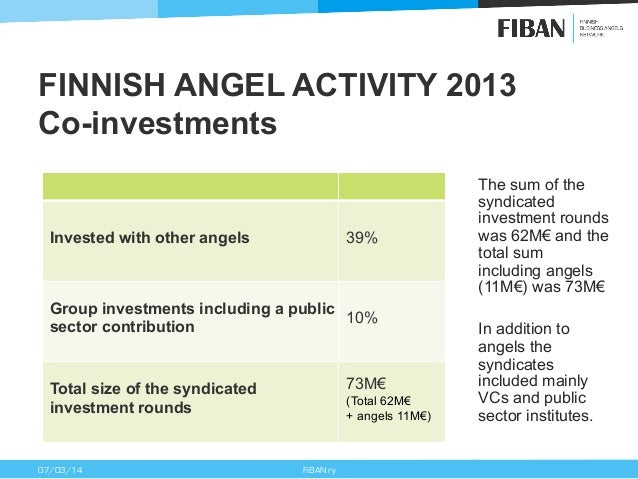 FINNISH ANGEL ACTIVITY 2013 Co-investments  39%  Invested with other angels  Group investments including a public 10% sect...