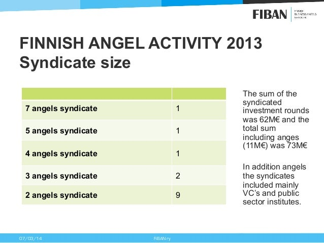 FINNISH ANGEL ACTIVITY 2013 Syndicate size 7 angels syndicate  1  5 angels syndicate  1  4 angels syndicate  1  3 angels s...