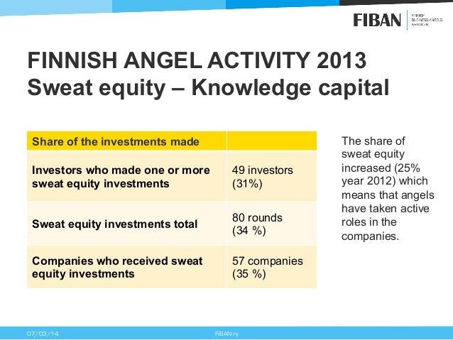 FINNISH ANGEL ACTIVITY 2013 Sweat equity – Knowledge capital Share of the investments made Investors who made one or more ...