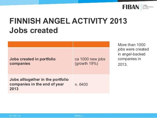 FINNISH ANGEL ACTIVITY 2013 Jobs created  Jobs created in portfolio companies  ca 1000 new jobs (growth 19%)  Jobs alltoge...