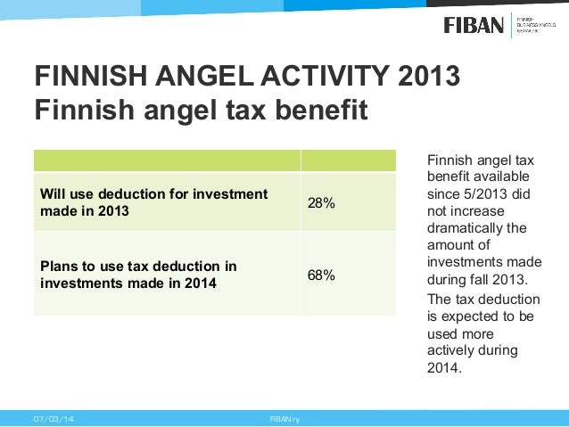 FINNISH ANGEL ACTIVITY 2013 Finnish angel tax benefit Will use deduction for investment made in 2013  28%  Plans to use ta...