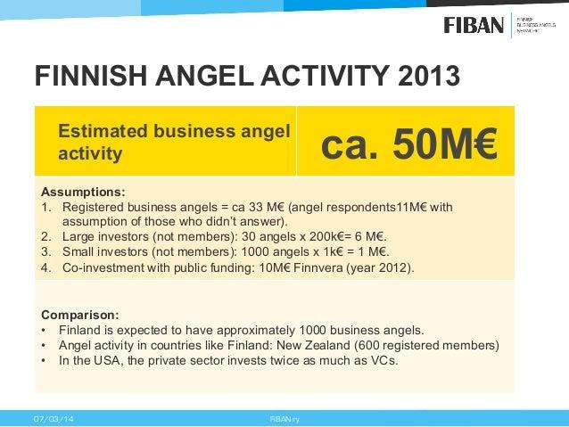 FINNISH ANGEL ACTIVITY 2013 Estimated business angel activity  ca. 50M€  Assumptions: 1. Registered business angels = ca ...
