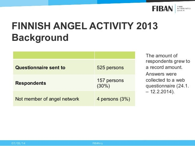 FINNISH ANGEL ACTIVITY 2013 Background Questionnaire sent to  525 persons  Respondents  157 persons (30%)  Not member of a...