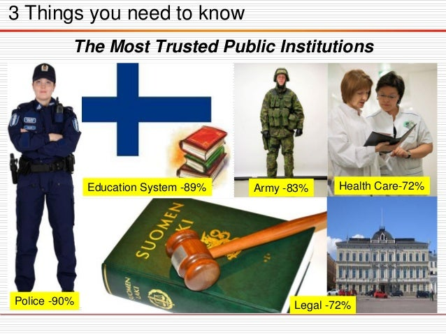 3 Things you need to know The Most Trusted Public Institutions Police -90% Education System -89% Army -83% Health Care-72%...