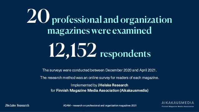 ADAM – research on professional and organization magazines 2021 The surveys were conducted between December 2020 and April...