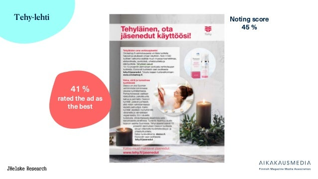 Tehy-lehti Noting score 45 % 41 % rated the ad as the best