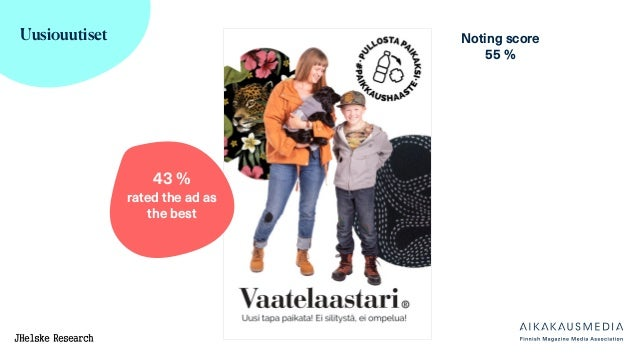 Uusiouutiset Noting score 55 % 43 % rated the ad as the best
