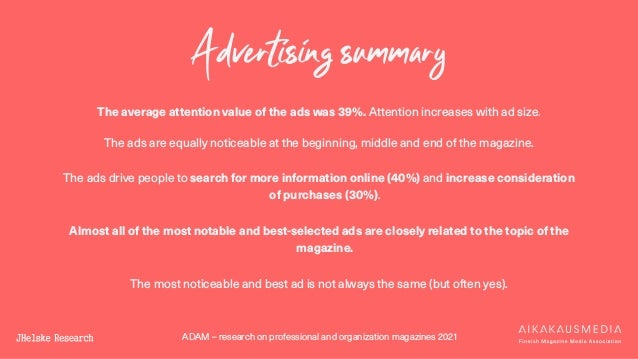 ADAM – research on professional and organization magazines 2021 Advertising summary The average attention value of the ads...