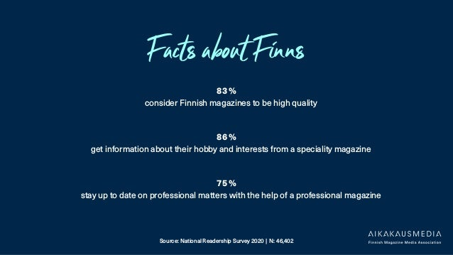 Facts about Finns 83 % consider Finnish magazines to be high quality 86 % get information about their hobby and interests ...